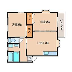 静岡県静岡市清水区蜂ケ谷の賃貸アパートの間取り