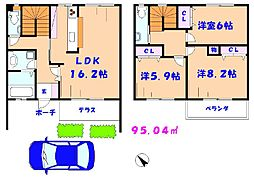 [テラスハウス] 千葉県市川市中国分4丁目 の賃貸【/】の間取り