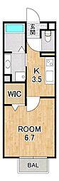 仮称)D-room大萱2丁目ハイツ 2階1Kの間取り