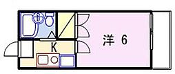 兵庫県姫路市飾磨区西浜町3丁目の賃貸アパートの間取り