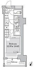 東京メトロ丸ノ内線 御茶ノ水駅 徒歩10分の賃貸マンション 6階1Kの間取り
