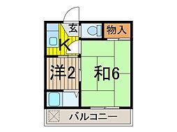 コーポ飯塚[205号室]の間取り
