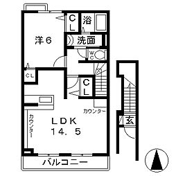 ラシュール コート1[2階]の間取り