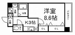 京阪本線 藤森駅 徒歩11分の賃貸マンション 4階1Kの間取り