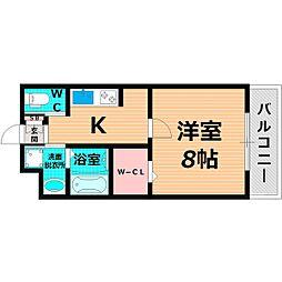 Osaka Metro谷町線 千林大宮駅 徒歩13分の賃貸マンション 2階1Kの間取り