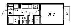 クリエ西山本[108号室号室]の間取り