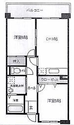 埼玉県越谷市千間台西2丁目の賃貸マンションの間取り
