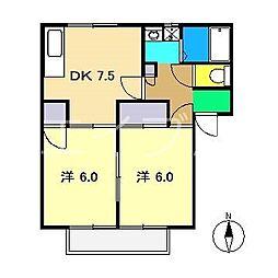 ハイツ北小松[1階]の間取り