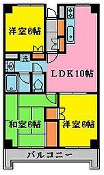 パルハウス萩原[5階]の間取り