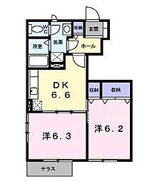 愛媛県松山市西長戸町の賃貸アパートの間取り