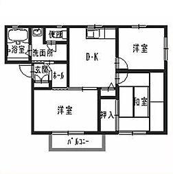 兵庫県姫路市飾磨区英賀東町1丁目の賃貸アパートの間取り