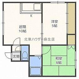 北海道札幌市北区新琴似一条8丁目の賃貸アパートの間取り