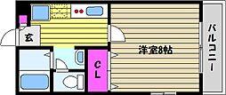 兵庫県芦屋市西芦屋町の賃貸アパートの間取り