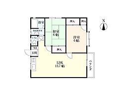 大石アパート[2-北号室]の間取り