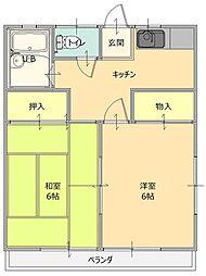 栃木県佐野市赤坂町の賃貸アパートの間取り