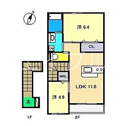 高知県高知市佐々木町の賃貸アパートの間取り