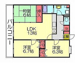 レグルス空港南[4階]の間取り