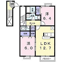 ヴィラグリシ−ヌB[2階]の間取り