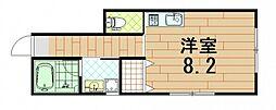 (仮)五日市中央1丁目アパート 1階ワンルームの間取り