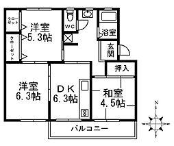 香里ケ丘住宅第11号棟[2階]の間取り