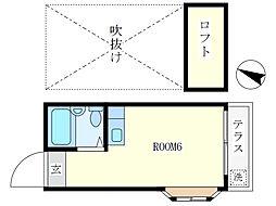 東京都中野区若宮2丁目の賃貸アパートの間取り