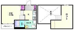 福岡県福岡市博多区西春町3丁目の賃貸アパートの間取り