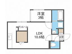 Laurel 2階1LDKの間取り