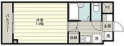 plumas上福岡II 2階1Kの間取り