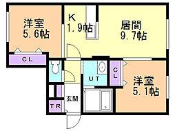 KーMAISON1 4階2LDKの間取り
