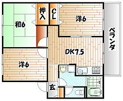 福岡県田川市桜町の賃貸アパートの間取り