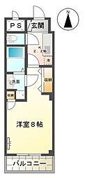 仙台市地下鉄東西線 連坊駅 徒歩1分の賃貸マンション 2階1Kの間取り