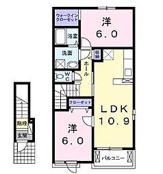 JR福塩線 神辺駅 徒歩5分の賃貸アパート 2階2LDKの間取り
