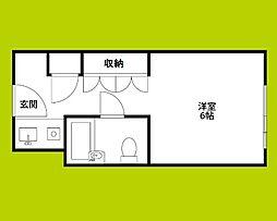 ステュディオ新大阪 9階ワンルームの間取り