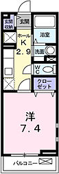 兵庫県姫路市広畑区東新町1丁目の賃貸アパートの間取り