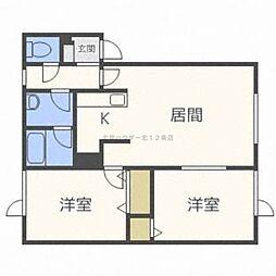 北海道札幌市中央区北十四条西15丁目の賃貸アパートの間取り