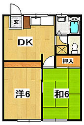 桜川ハイツ 6[2階]の間取り