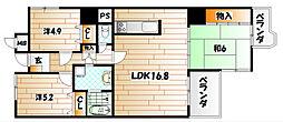 サンパーク折尾東[6階]の間取り