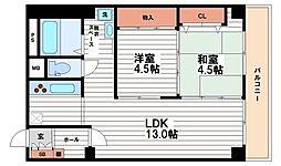 内本町コーポ[13階]の間取り