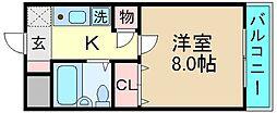 荒本駅徒歩5分 ナンソー・コーポ[4F号室]の間取り