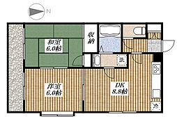 シャンブルド昭島[2階]の間取り
