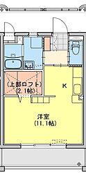 (仮称)都城牟田町マンション南棟 1階ワンルームの間取り