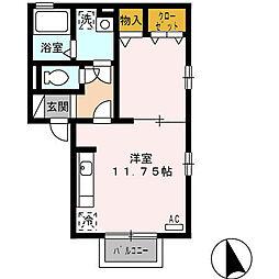 愛知県稲沢市北市場本町4の賃貸アパートの間取り