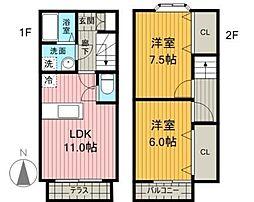 佐賀県神埼市千代田町境原の賃貸アパートの間取り
