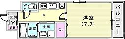 エスリード神戸海岸通 14階1Kの間取り