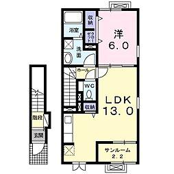 新潟県新潟市中央区姥ケ山2丁目の賃貸アパートの間取り