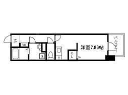Osaka Metro中央線 谷町四丁目駅 徒歩2分の賃貸マンション 13階ワンルームの間取り