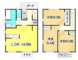 [テラスハウス] 埼玉県志木市下宗岡2丁目 の賃貸【/】の間取り