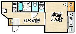 レーブ 2階1DKの間取り