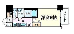 プレサンス梅田東グラッド 4階1Kの間取り