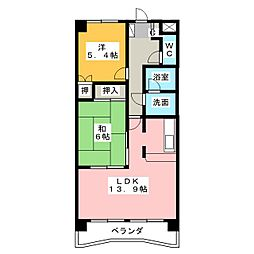 愛知県小牧市中央5丁目の賃貸マンションの間取り